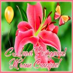 Открытка открытка с днем рождения женщине с лилией