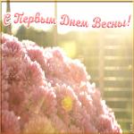 Картинка открытка с первым днем весны с цветами